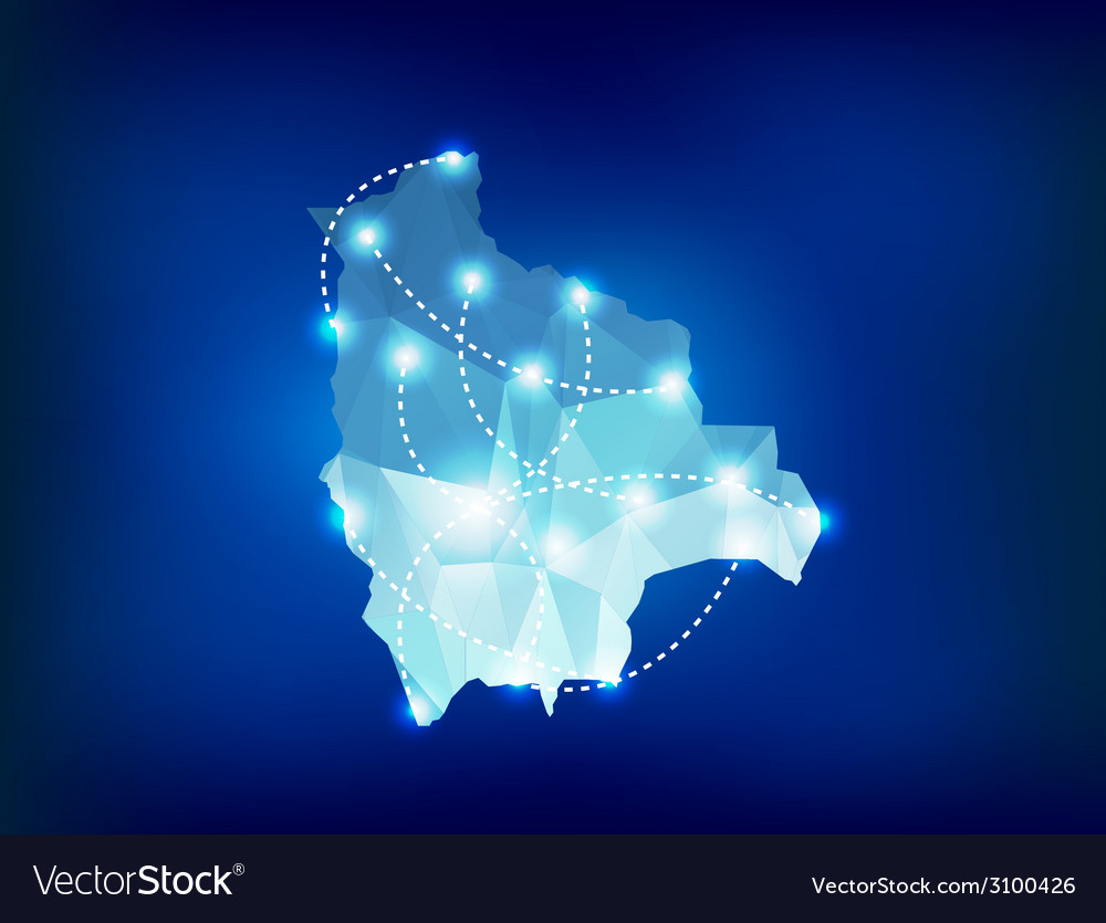 Bolivia country map polygonal with spot lights vector | Price: 1 Credit (USD $1)