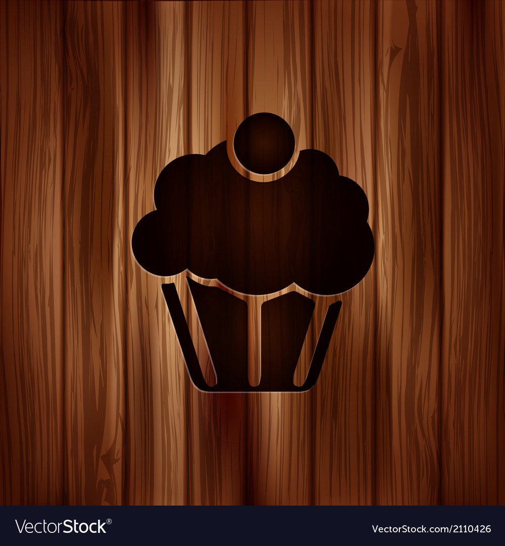 Cake web icon wooden background vector | Price: 1 Credit (USD $1)