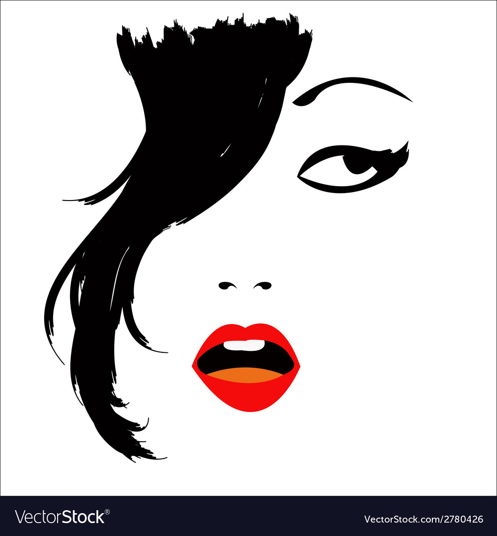 Girl with sexual lips vector | Price: 1 Credit (USD $1)