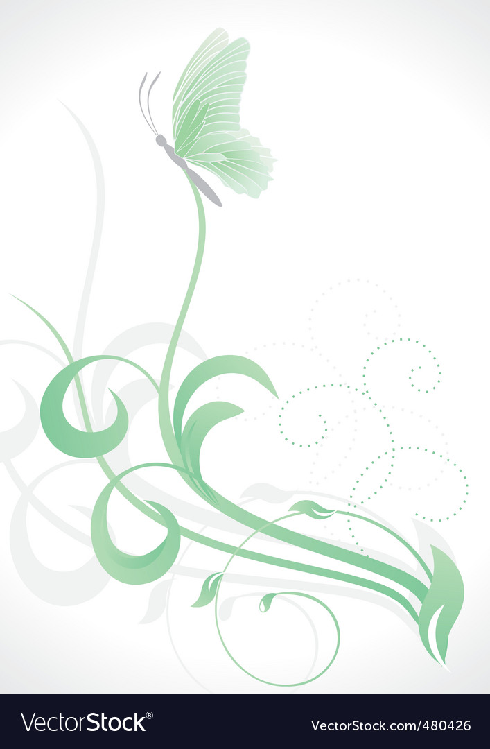 Grass and butterfly vector | Price: 1 Credit (USD $1)