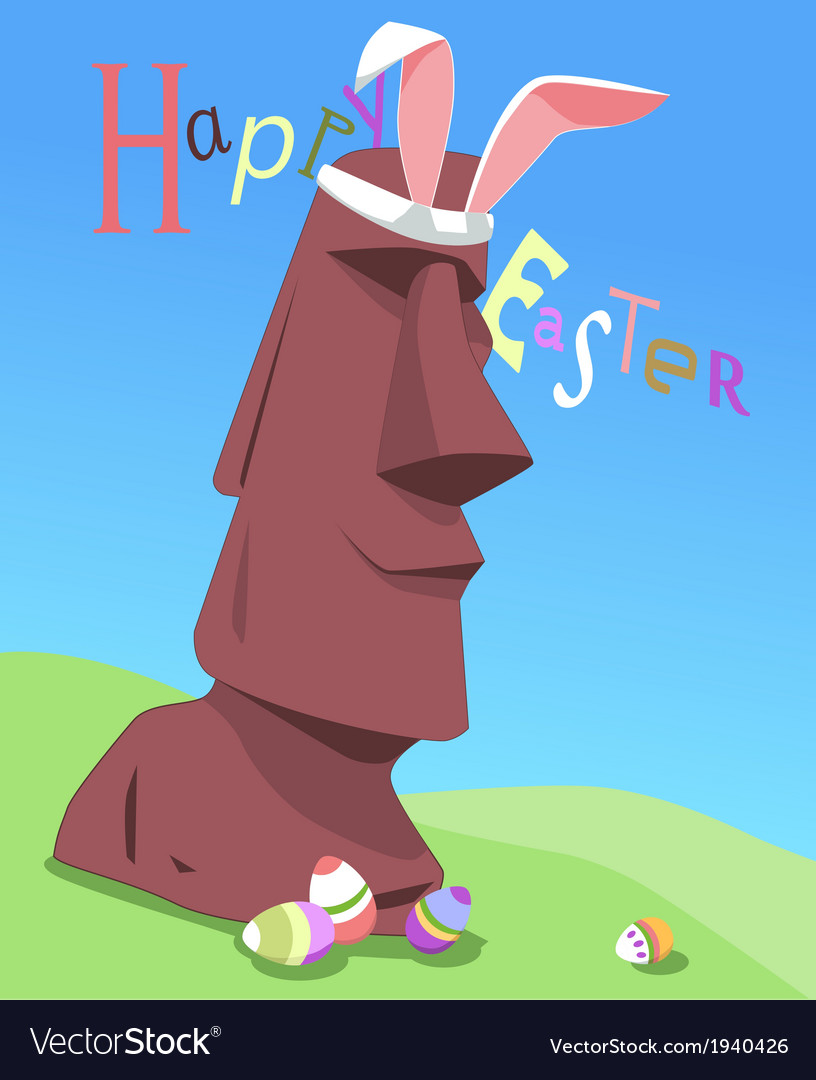Happy easter from easter island vector | Price: 1 Credit (USD $1)