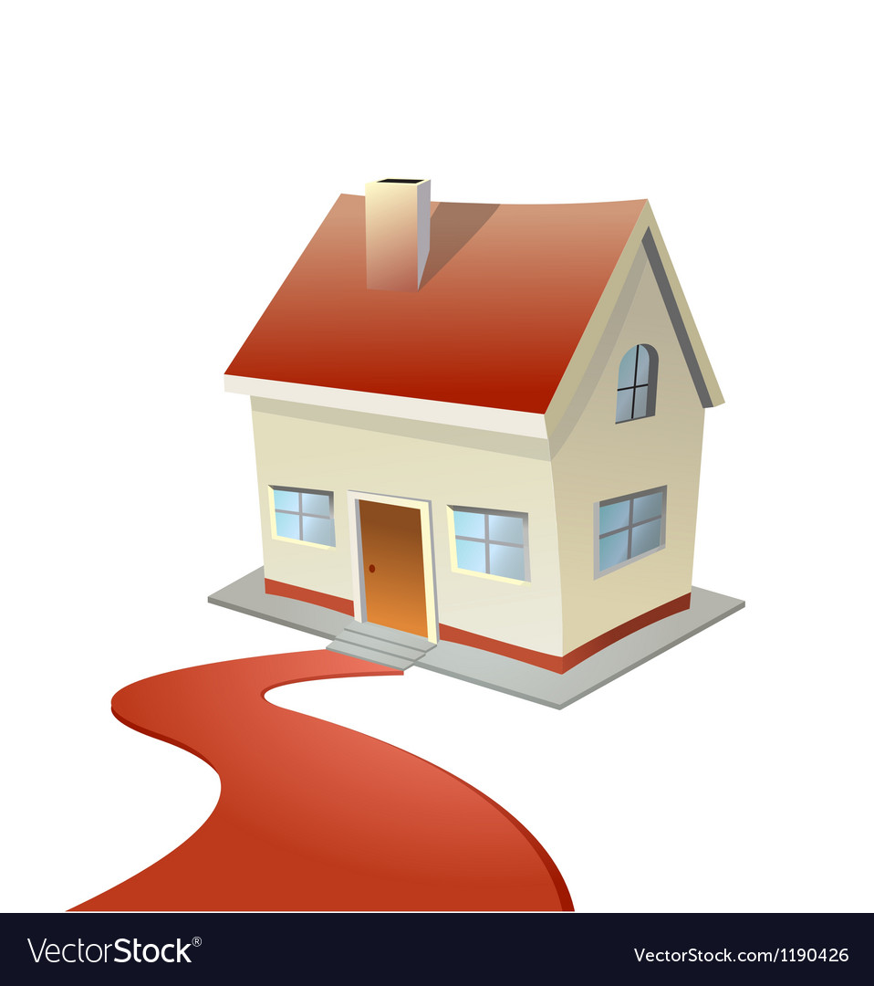 House with red carpet road vector | Price: 1 Credit (USD $1)