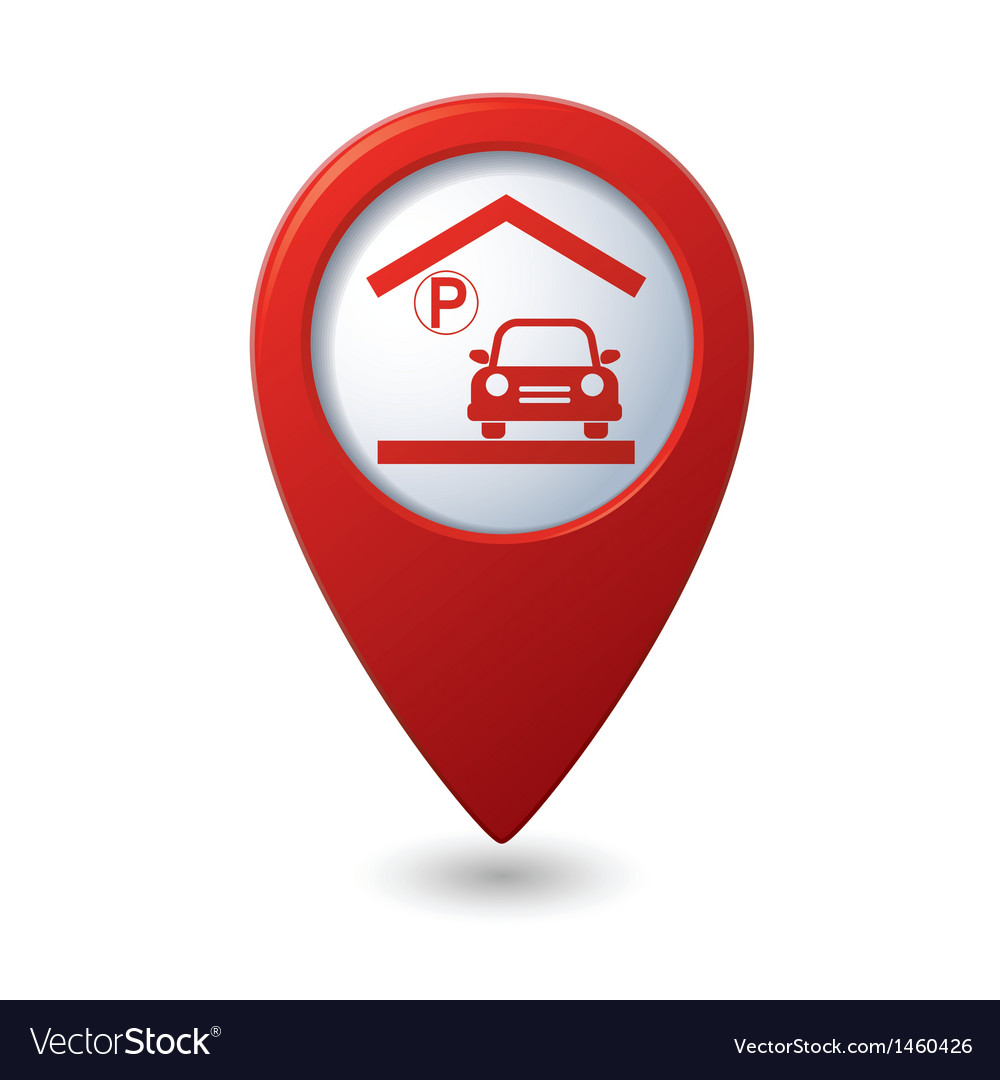 Parking under roof icon red map pointer vector | Price: 1 Credit (USD $1)