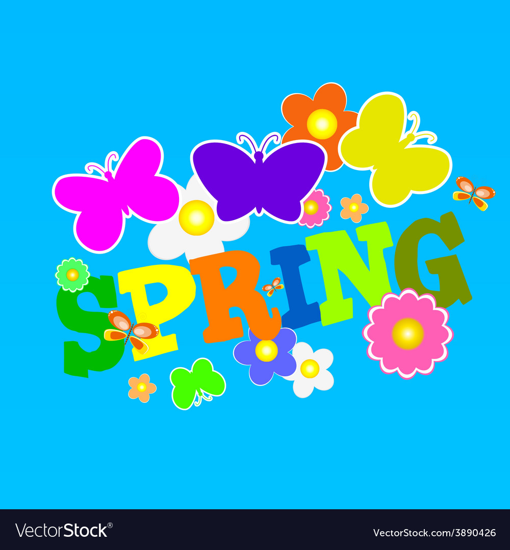 Spring with flower and butterfly color vector | Price: 1 Credit (USD $1)