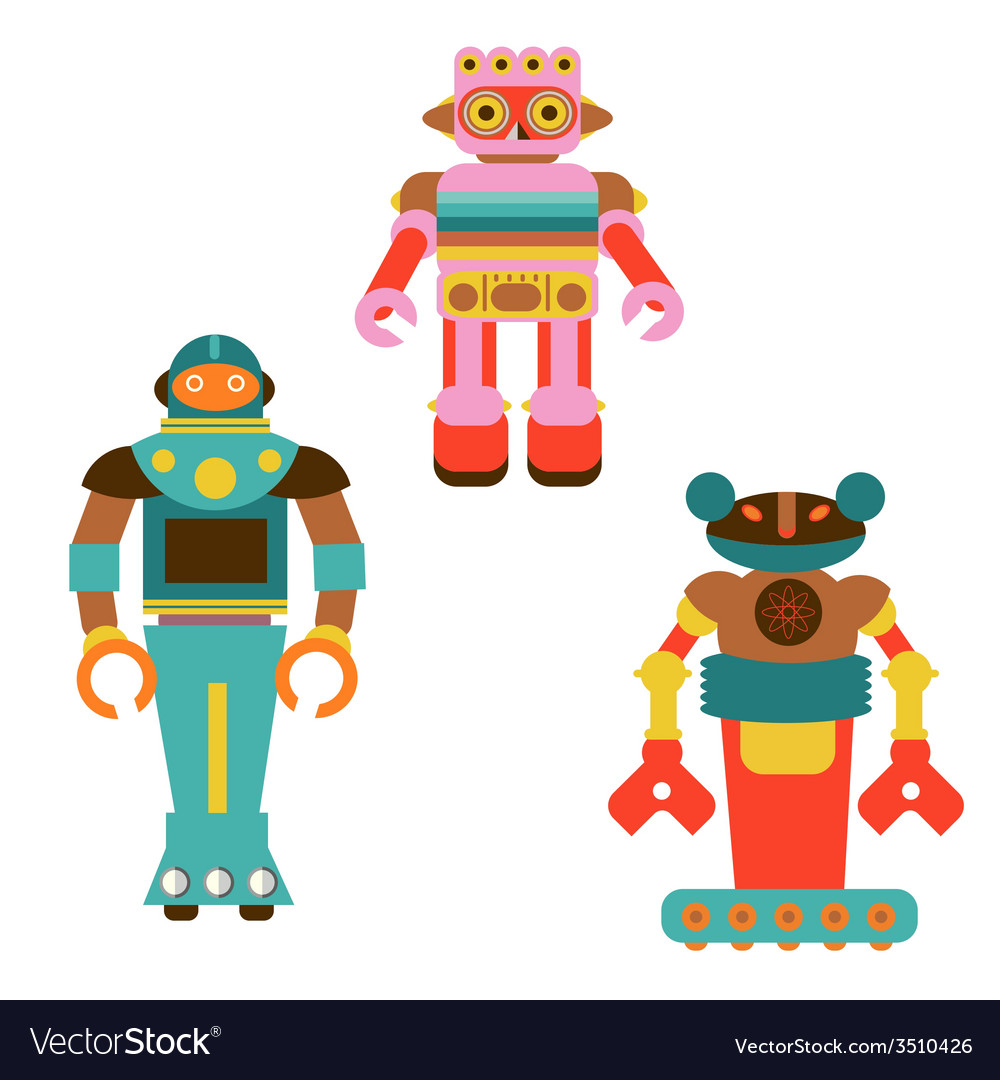 Three robots monsters vector | Price: 1 Credit (USD $1)