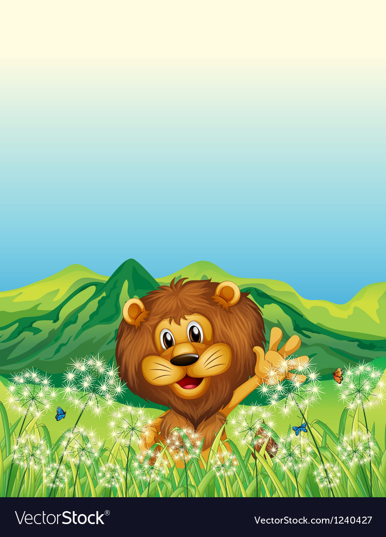 A lion waving his hand near the weeds vector | Price: 1 Credit (USD $1)