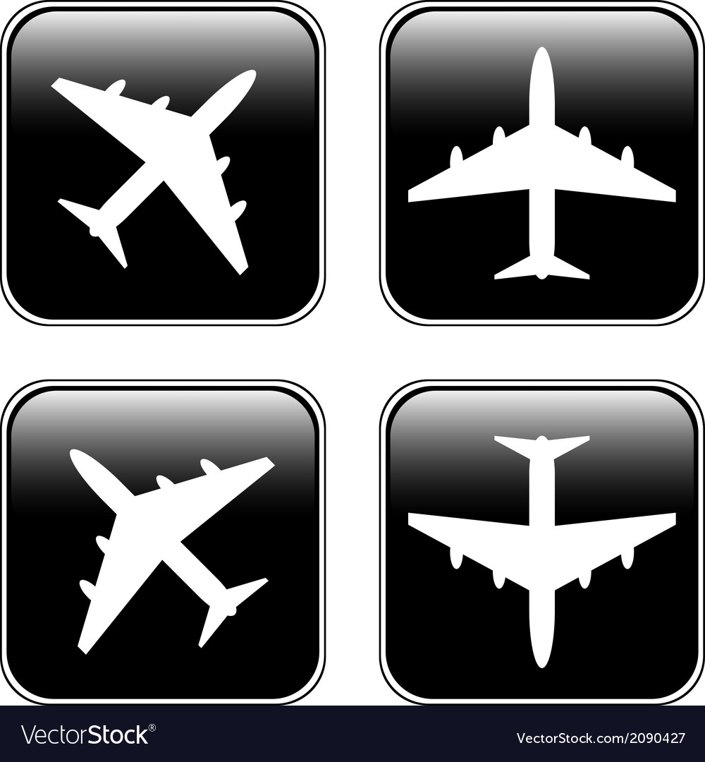 Airplane buttons set vector | Price: 1 Credit (USD $1)