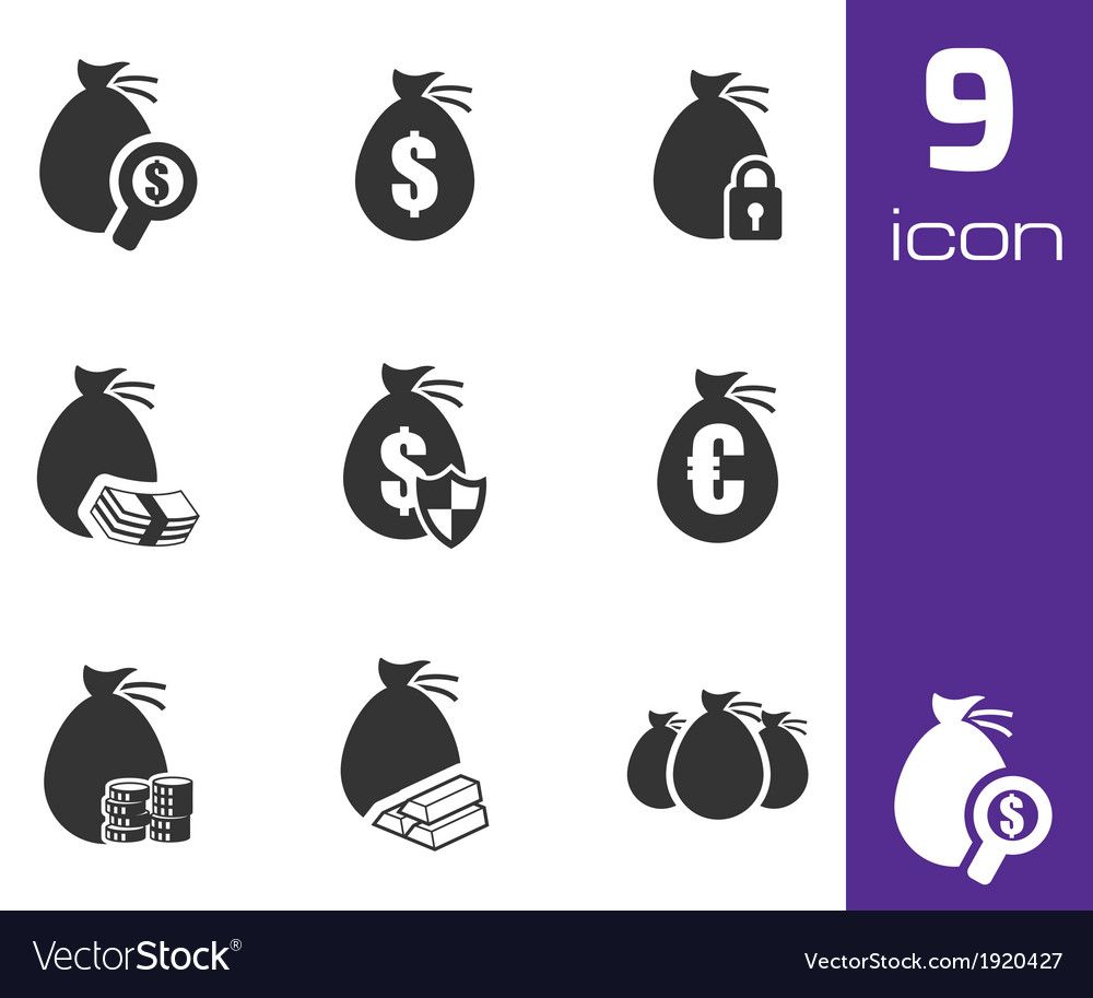 Black money icons set vector | Price: 1 Credit (USD $1)