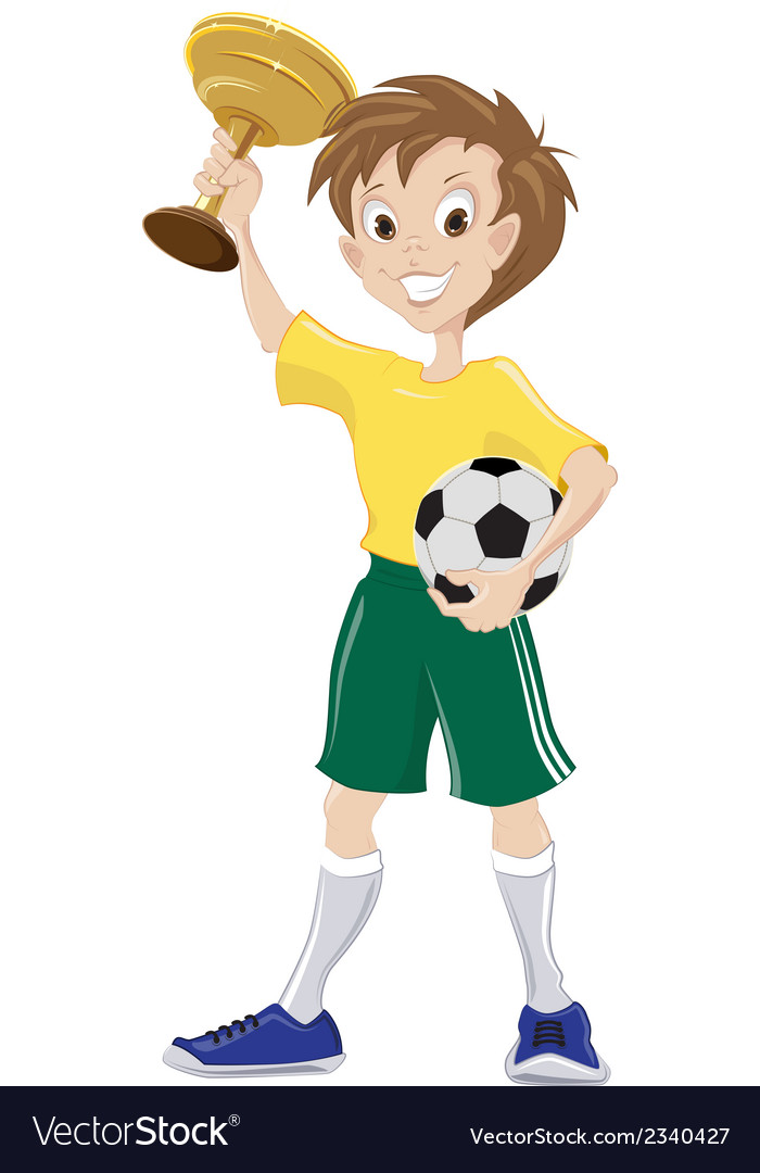 Happy soccer fan holds cup and ball vector | Price: 1 Credit (USD $1)
