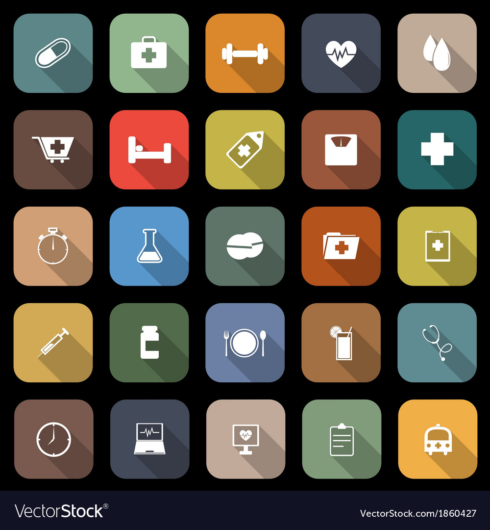 Health flat icons with long shadow vector | Price: 1 Credit (USD $1)
