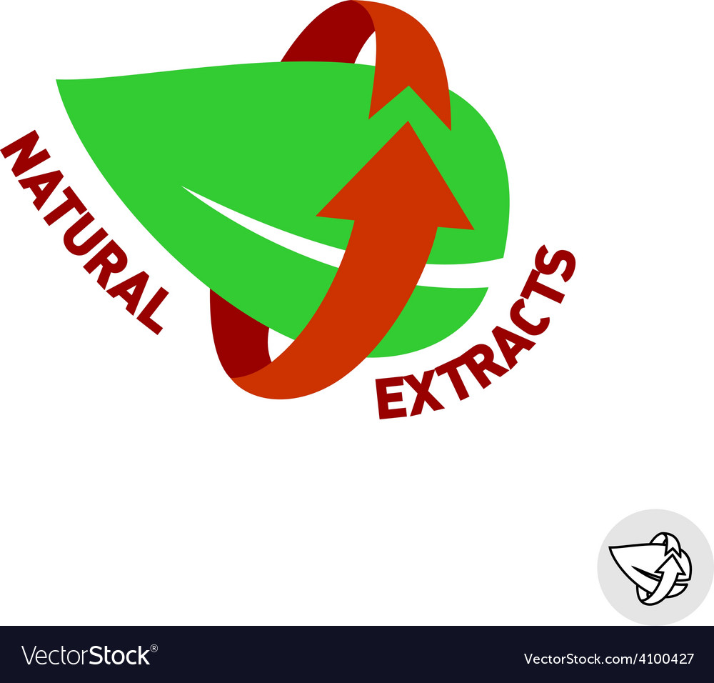 Natural extracts green leaf eco sign badge vector | Price: 1 Credit (USD $1)