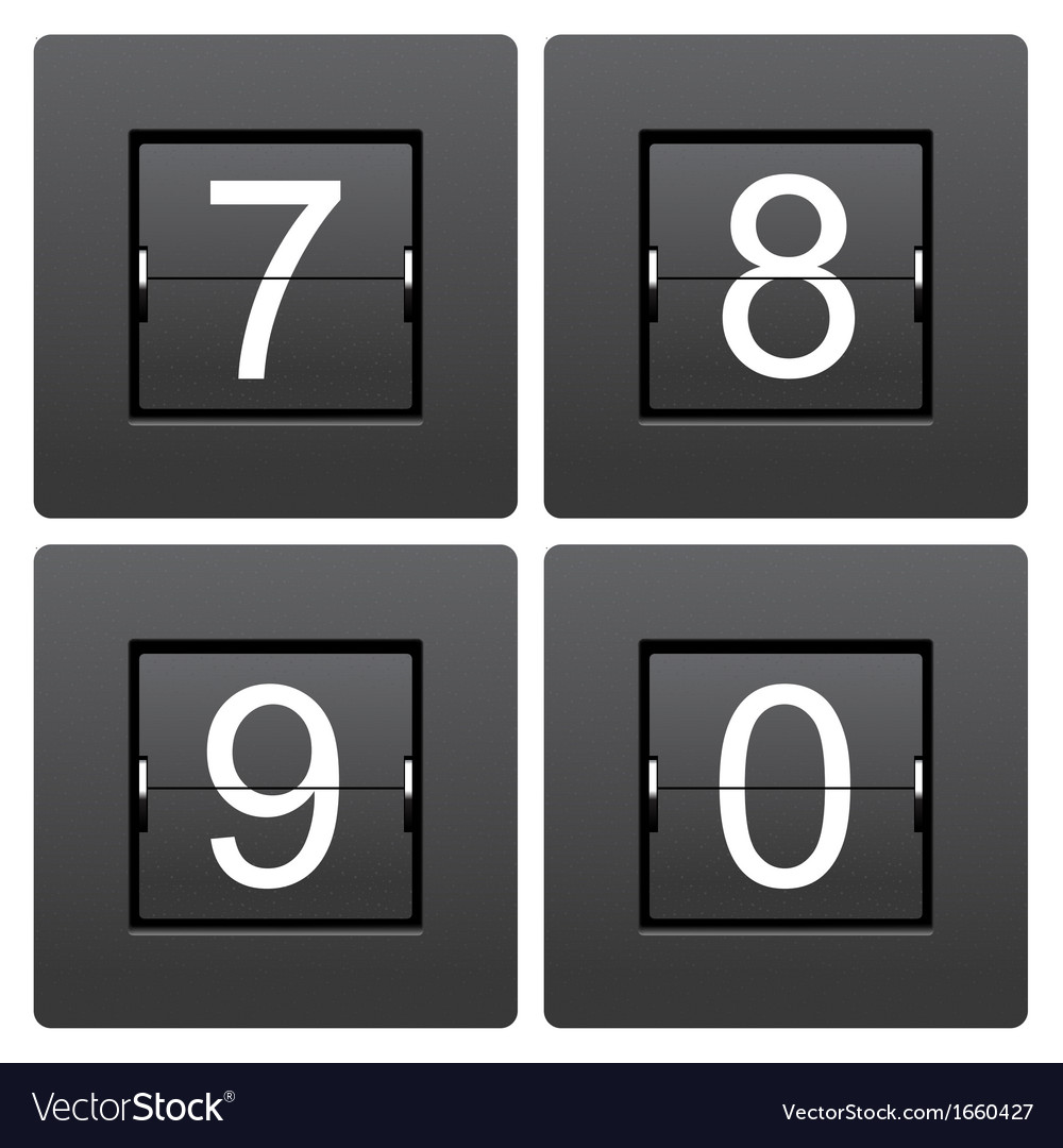 Numeric series 7 to 0 from mechanical scoreboard vector | Price: 1 Credit (USD $1)