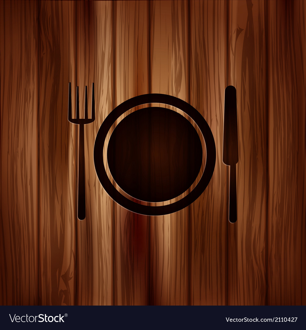 Plate web icon wooden background vector | Price: 1 Credit (USD $1)