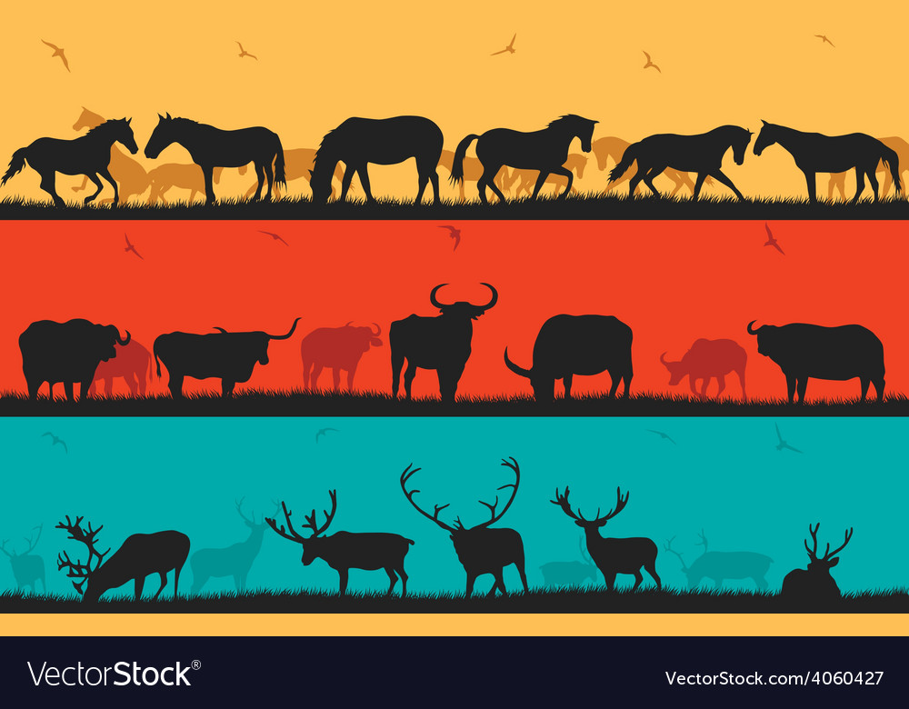 Set of with horses bulls and deer vector | Price: 1 Credit (USD $1)