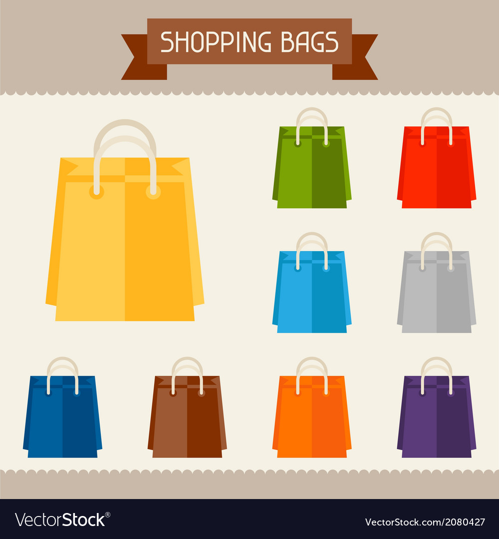Shopping bags colored templates for your design in vector   Price: 1 Credit (USD $1)