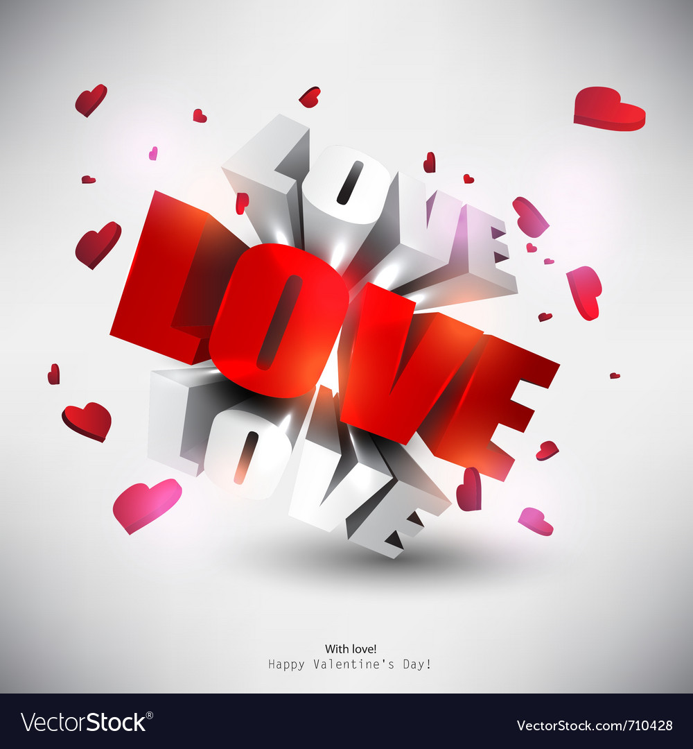 3d word love with hearts vector | Price: 1 Credit (USD $1)