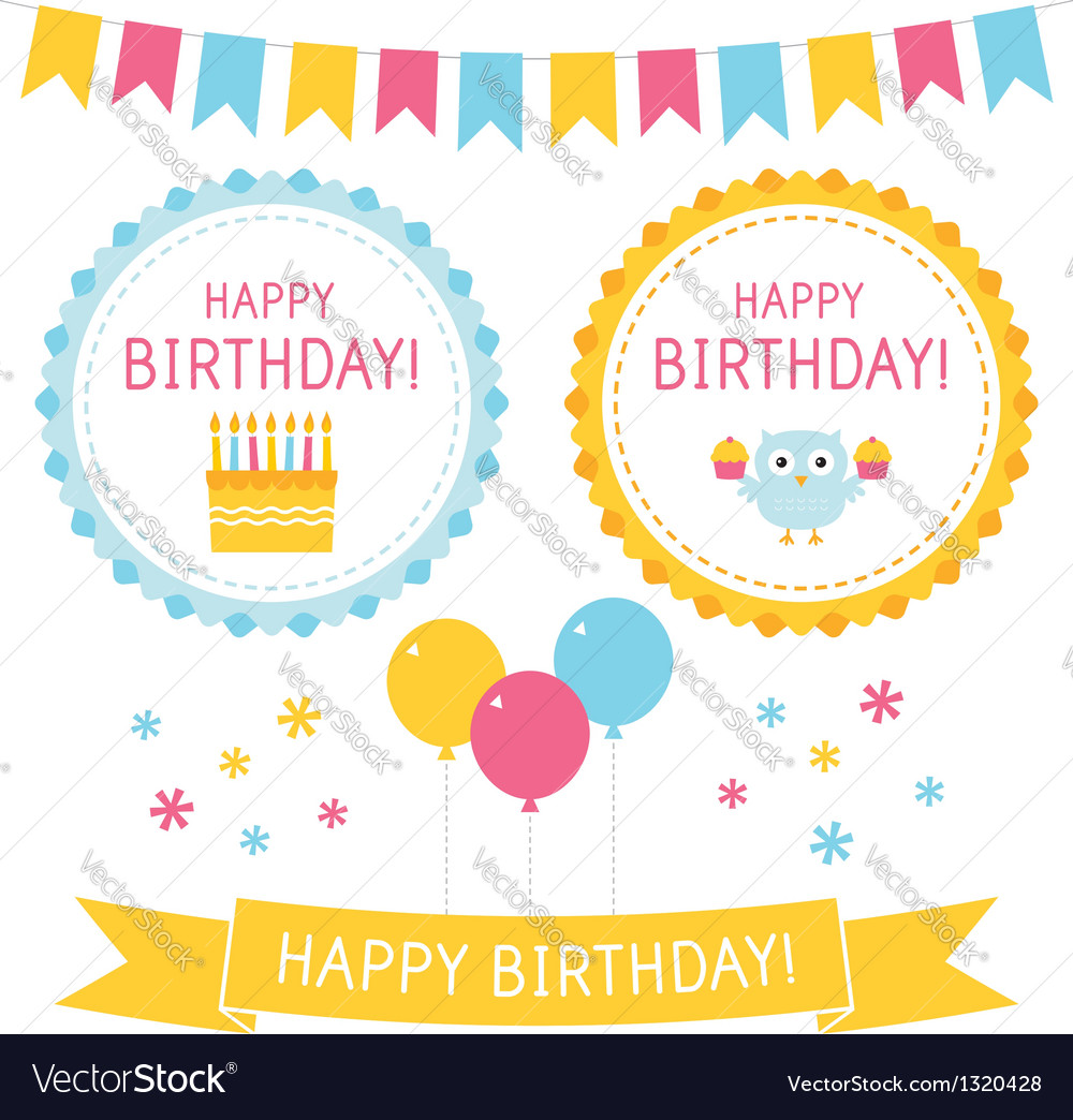 Birthday elements set vector | Price: 1 Credit (USD $1)