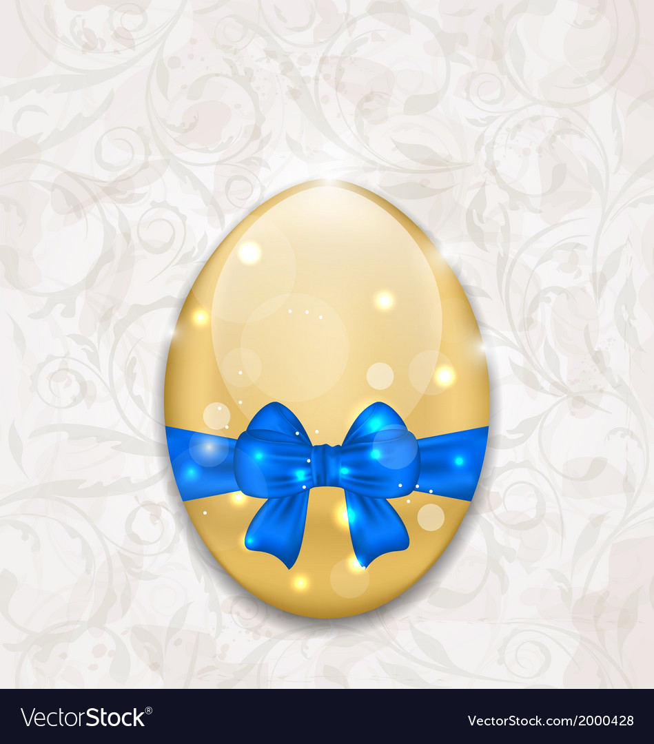 Easter glossy egg wrapping blue bow vector | Price: 1 Credit (USD $1)