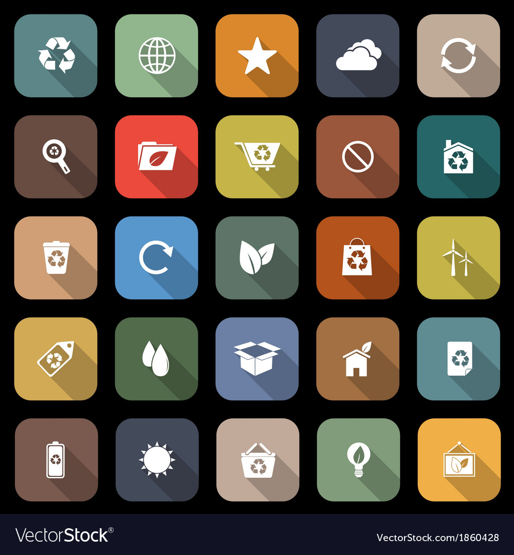 Ecology flat icons with long shadow vector | Price: 1 Credit (USD $1)