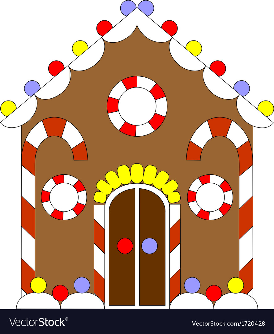 Gingerbread house color 02 vector | Price: 1 Credit (USD $1)