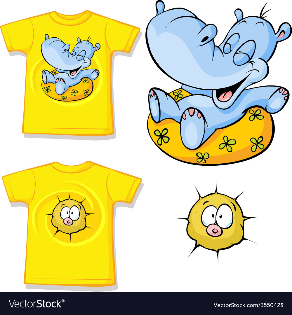 Kid shirt with funny hippo love printed - isolated vector | Price: 1 Credit (USD $1)