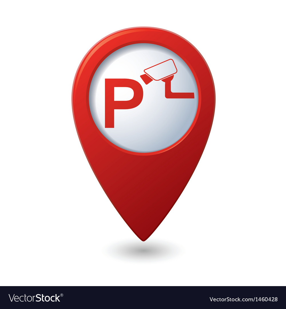 Parking under supervision icon red map pointer vector | Price: 1 Credit (USD $1)