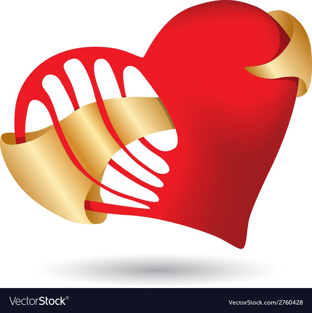 Red heart with golden ribbon vector | Price: 1 Credit (USD $1)