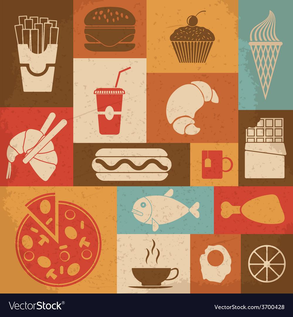 Retro food icons vector | Price: 1 Credit (USD $1)