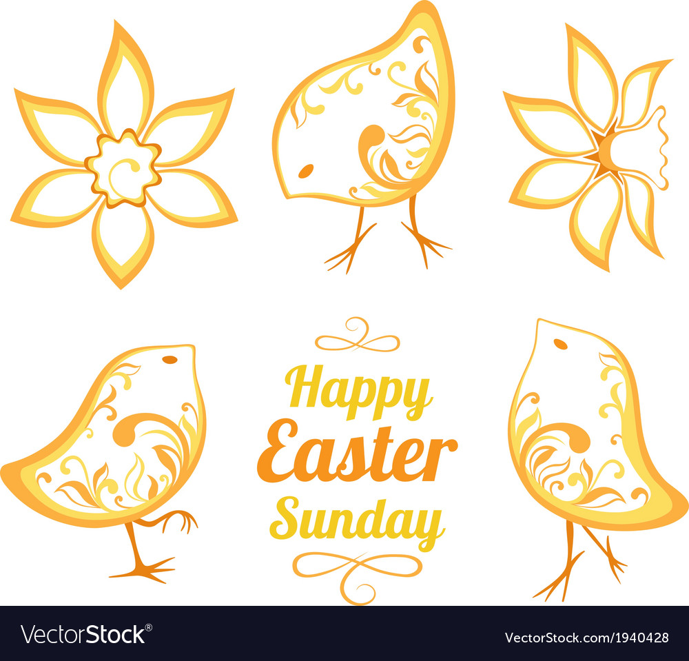 Set of decorative easter chickens vector | Price: 1 Credit (USD $1)