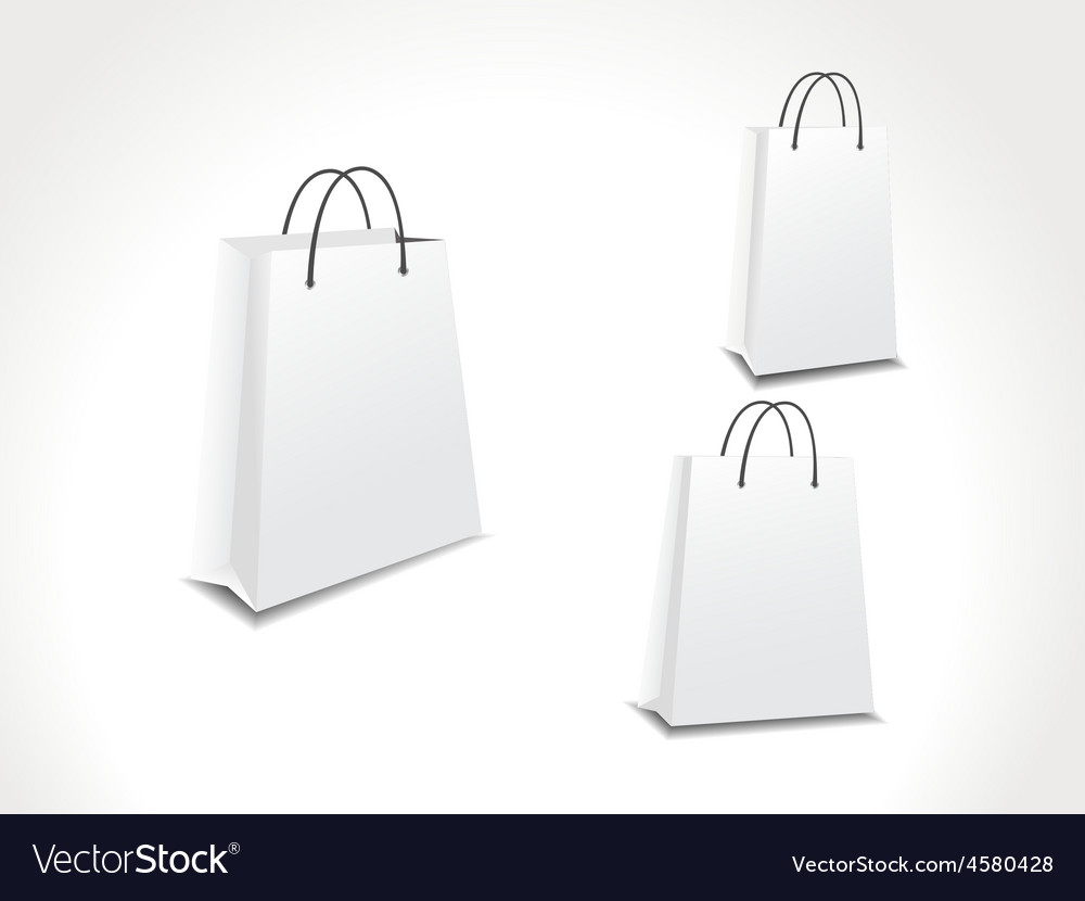 Set of three paper shopping bags vector   Price: 1 Credit (USD $1)