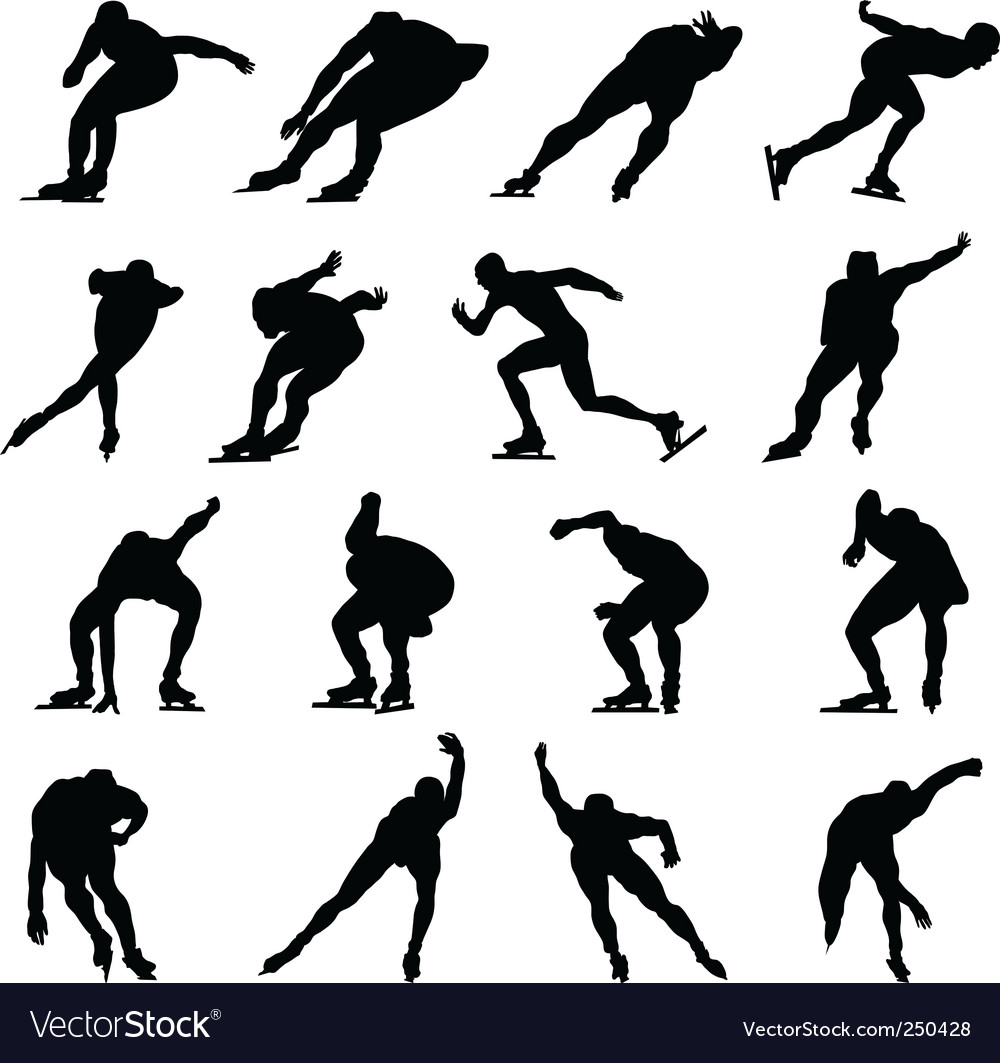 Skating man silhouette set vector | Price: 1 Credit (USD $1)