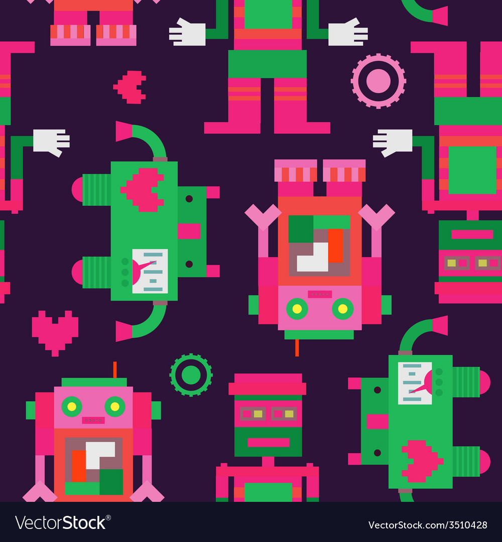 Three robots seamless pattern vector | Price: 1 Credit (USD $1)