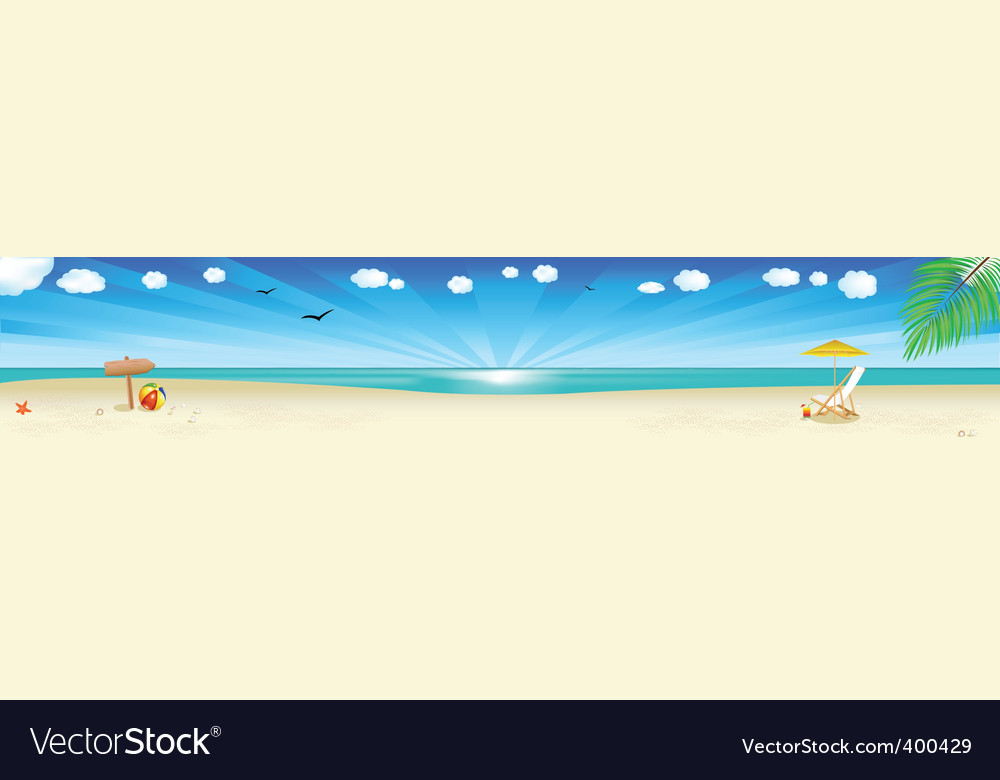 Beach scene vector | Price: 1 Credit (USD $1)