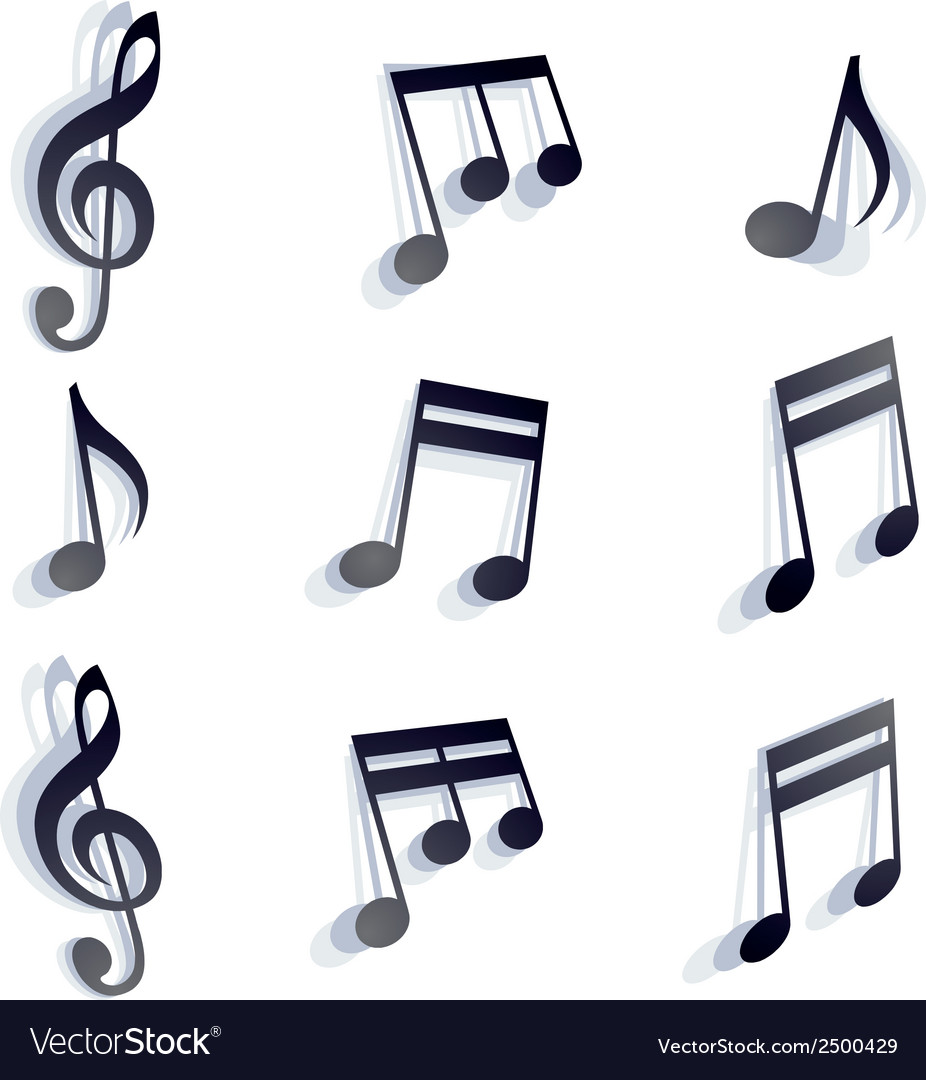 Black monochromatic musical notes and symbols vector | Price: 1 Credit (USD $1)