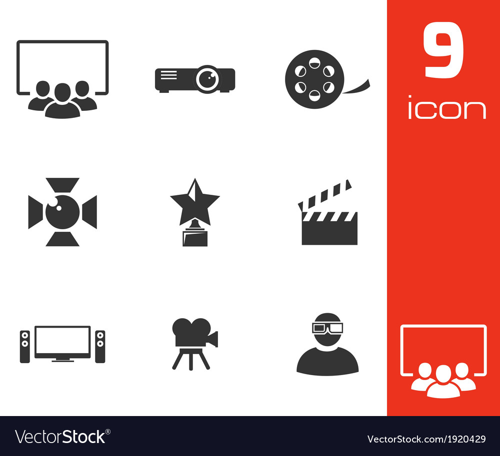 Black movie icons set vector | Price: 1 Credit (USD $1)