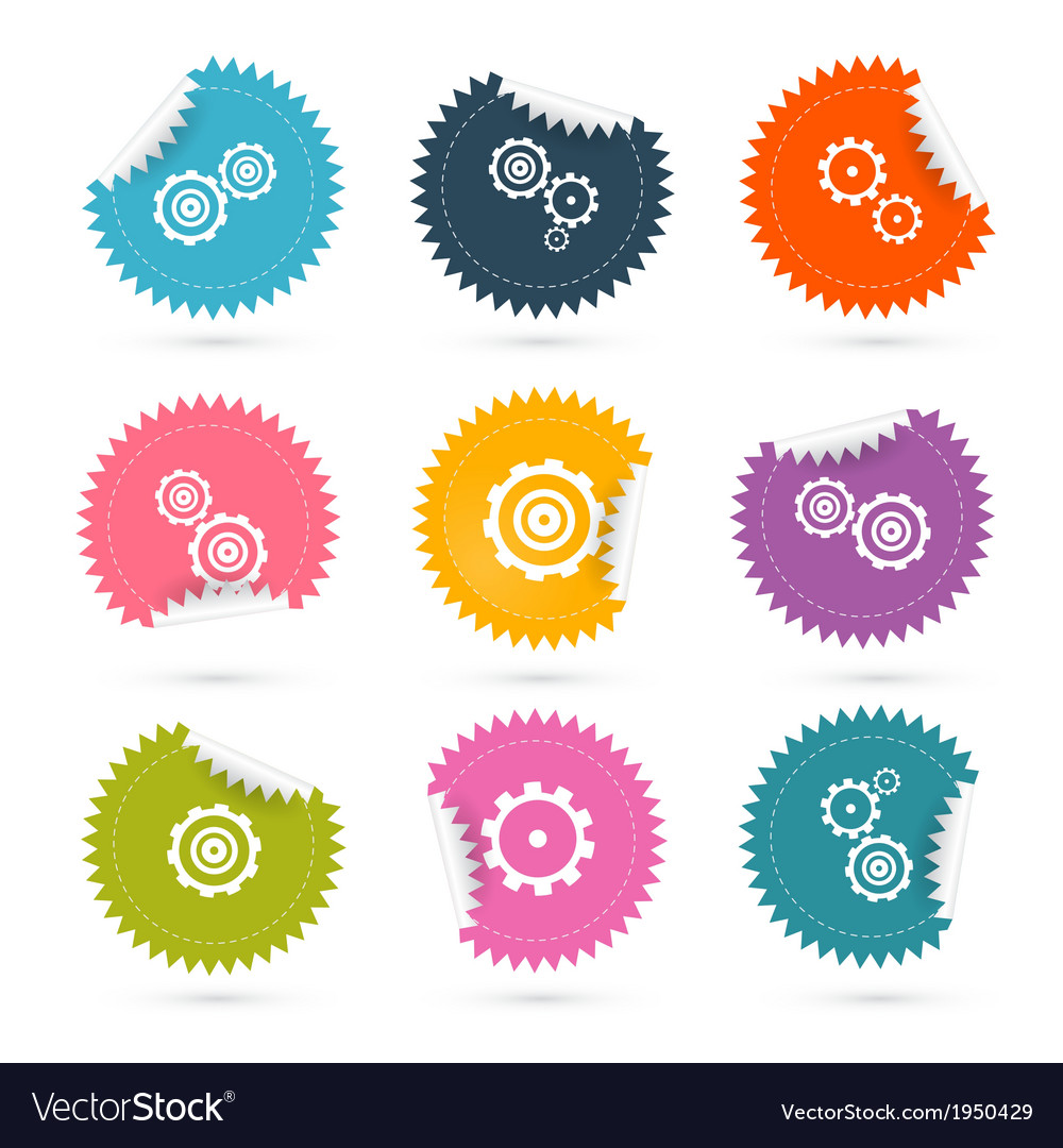 Cogs  gears colorful stickers icons set isolated vector