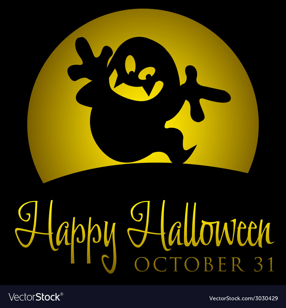 Ghost rising moon halloween card in format vector | Price: 1 Credit (USD $1)