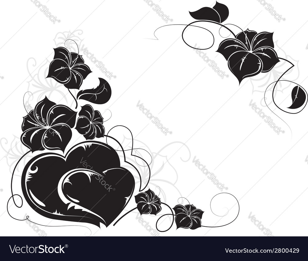 Hearts and flowers silhouettes vector | Price: 1 Credit (USD $1)
