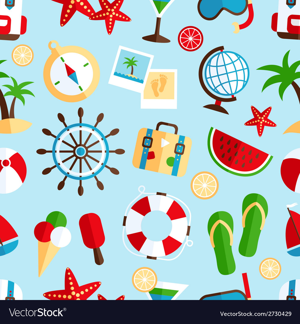 Holiday vacation seamless pattern vector | Price: 1 Credit (USD $1)