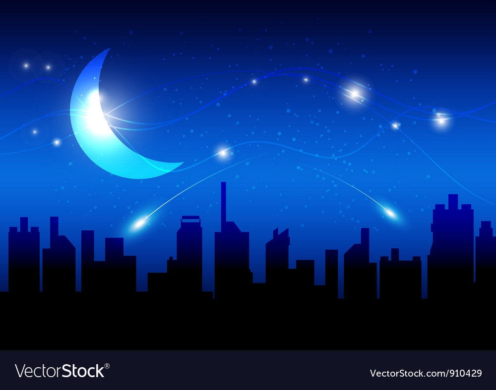 Moon and night of city vector | Price: 1 Credit (USD $1)