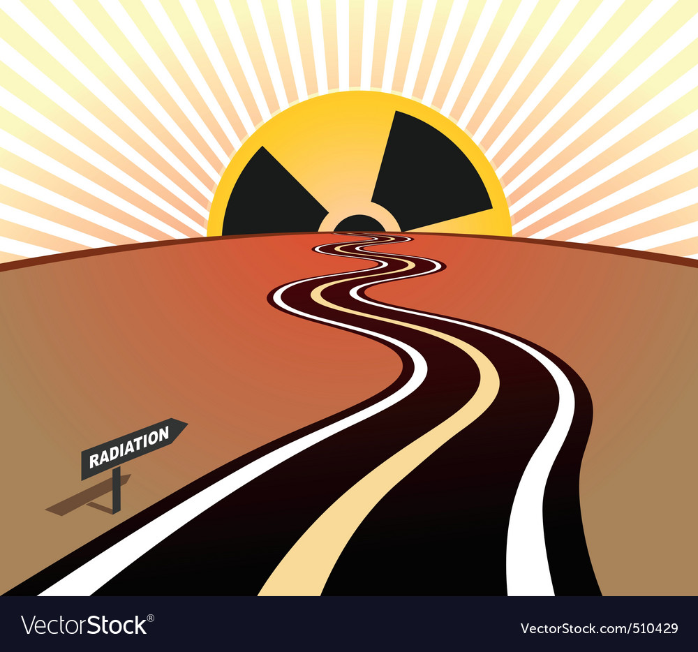 Radiation infection road horizon sunrise vector | Price: 1 Credit (USD $1)