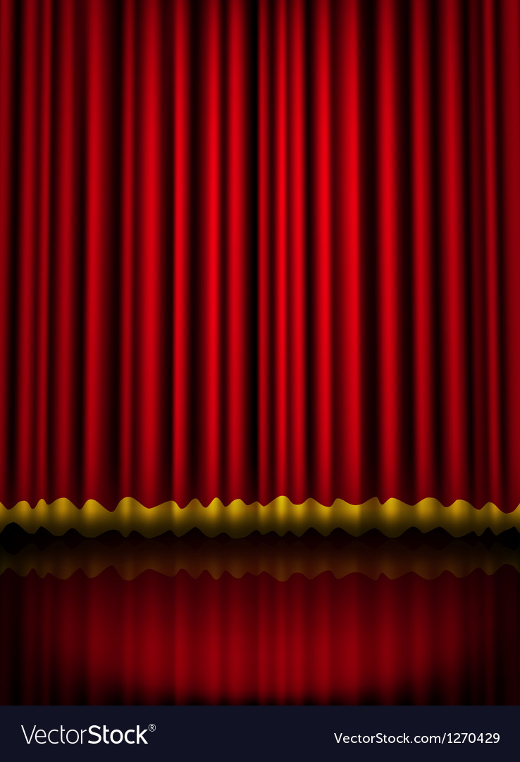 Red velvet theater stage curtain with golden vector | Price: 1 Credit (USD $1)