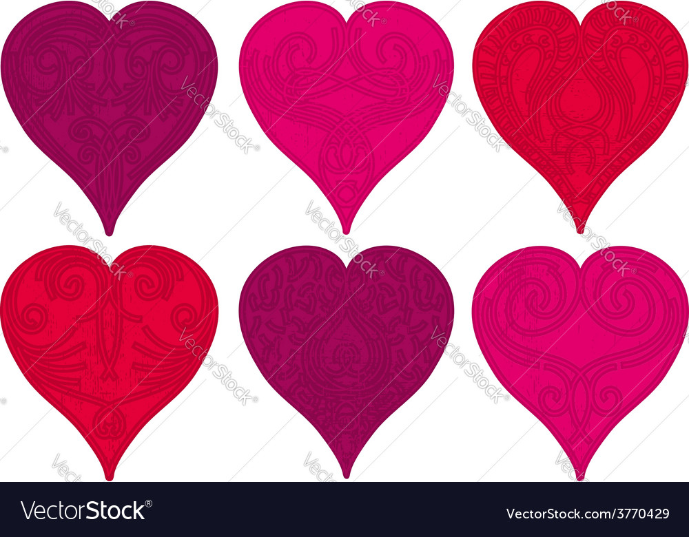 Six valentine red heart vector | Price: 1 Credit (USD $1)
