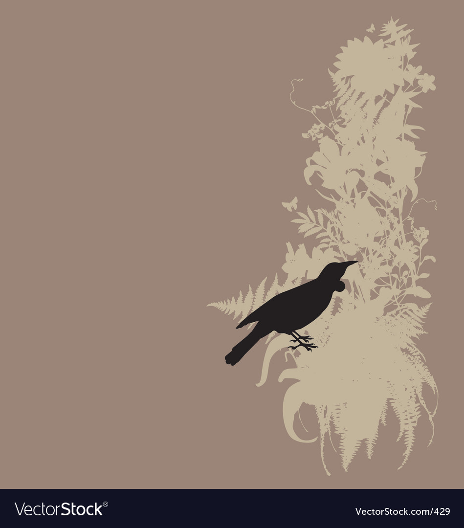 Tui and native bush vector | Price: 1 Credit (USD $1)