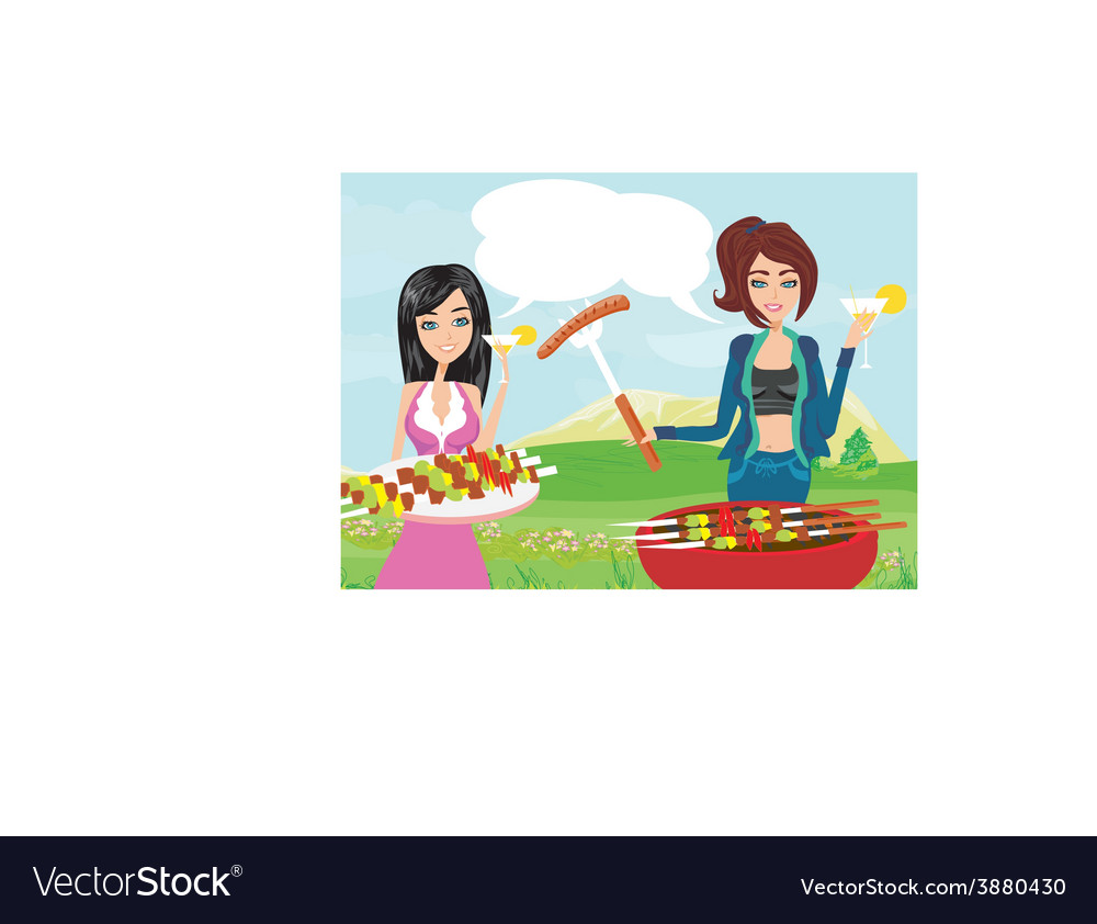 A small party at the grill vector | Price: 1 Credit (USD $1)