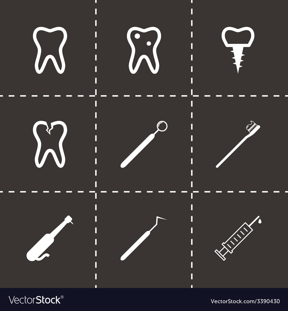 Black dental icons set vector | Price: 1 Credit (USD $1)