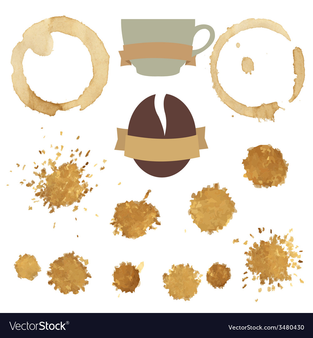 Coffee stains with symbol set vector | Price: 1 Credit (USD $1)