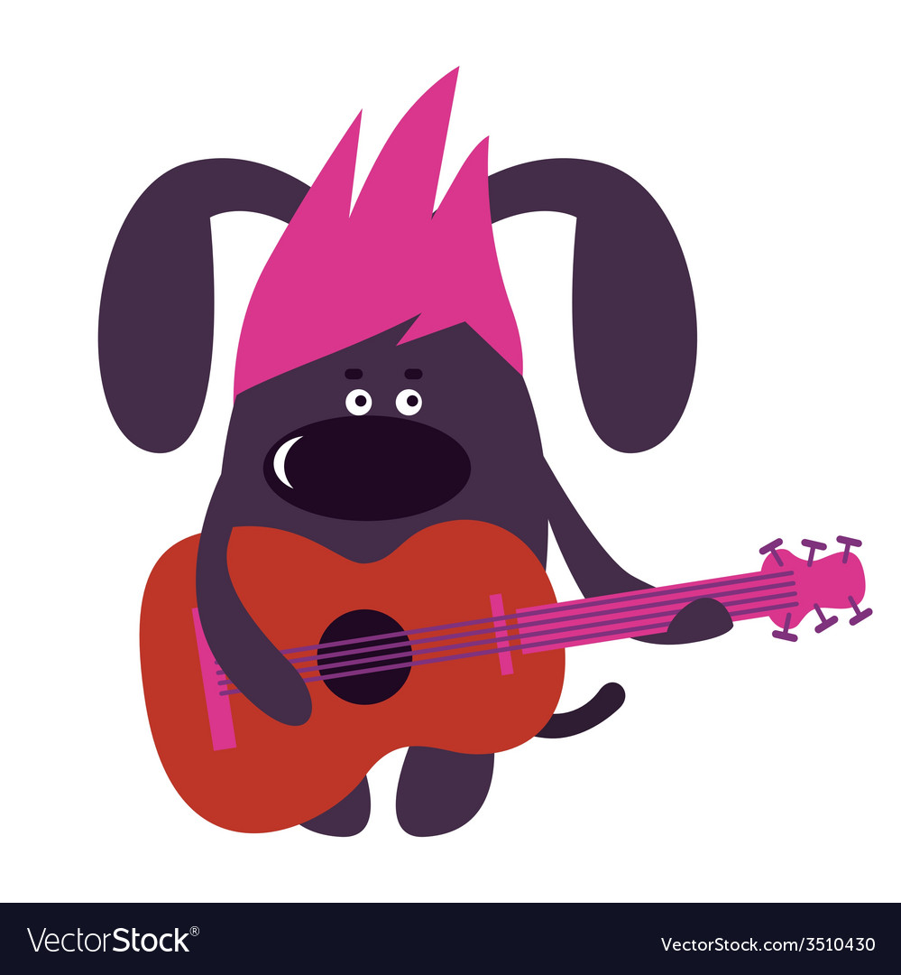 Dog guitarist vector | Price: 1 Credit (USD $1)