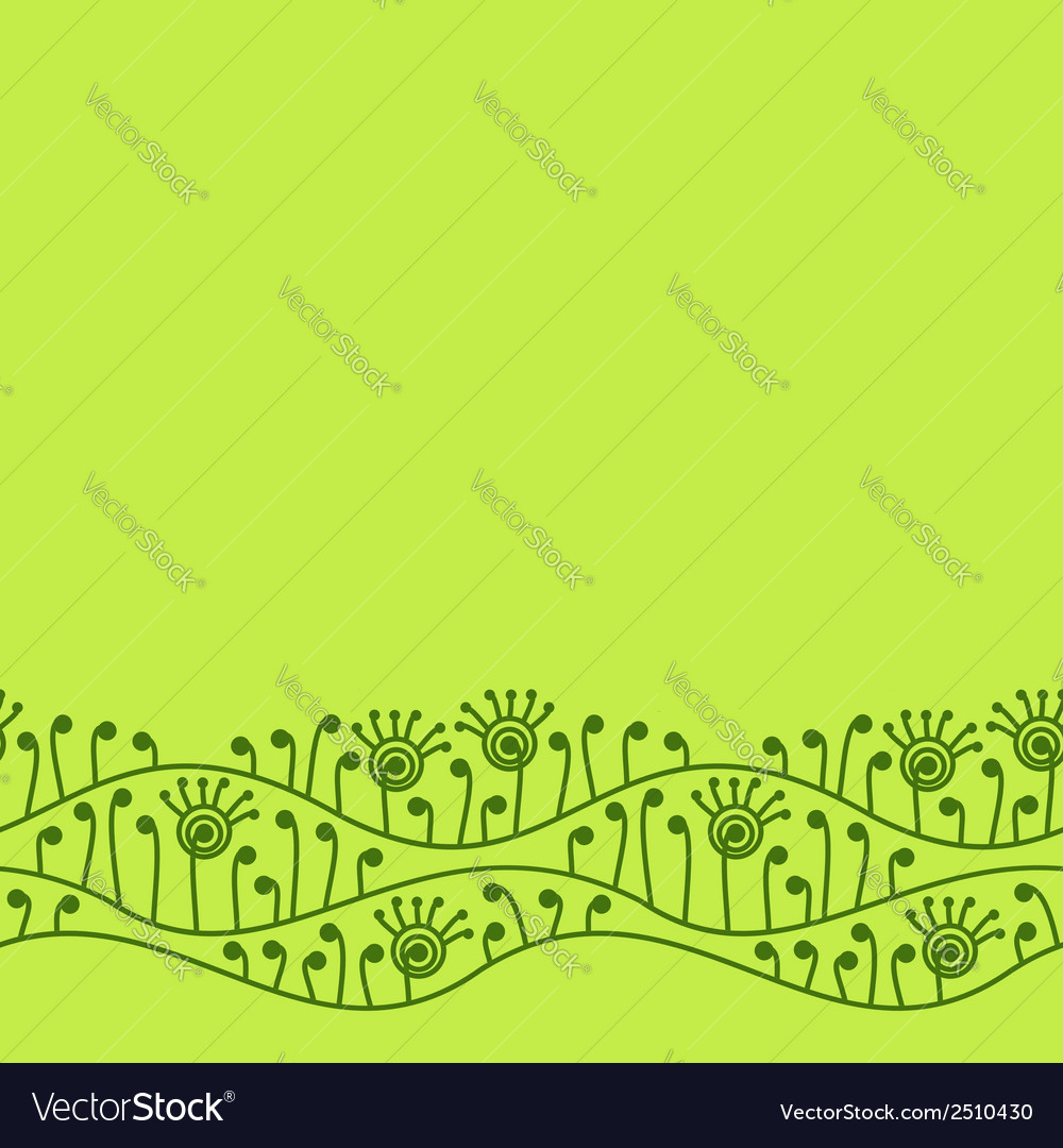 Green seamless border with abstract plants vector   Price: 1 Credit (USD $1)