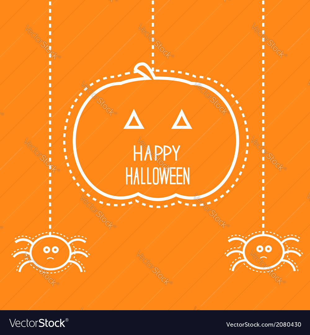 Hanging pumpkin and two spiders vector | Price: 1 Credit (USD $1)